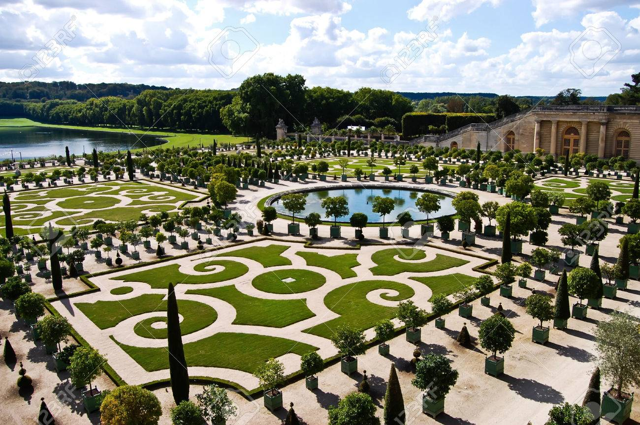 Decorative Gardens With Orange Trees At Versailles Castle In.. Stock ...