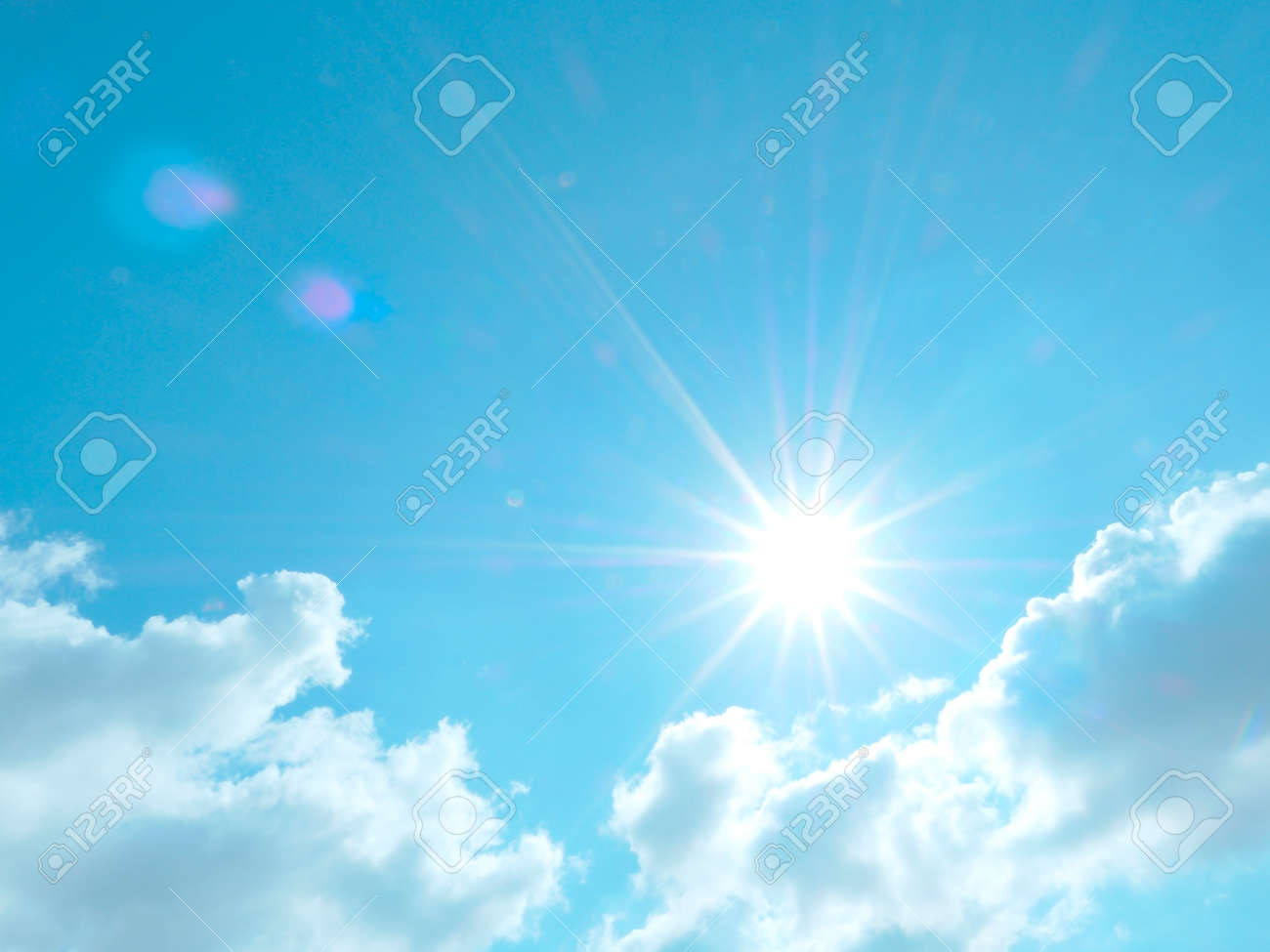 The beautiful sky with clouds and sun, real photo - 159701156