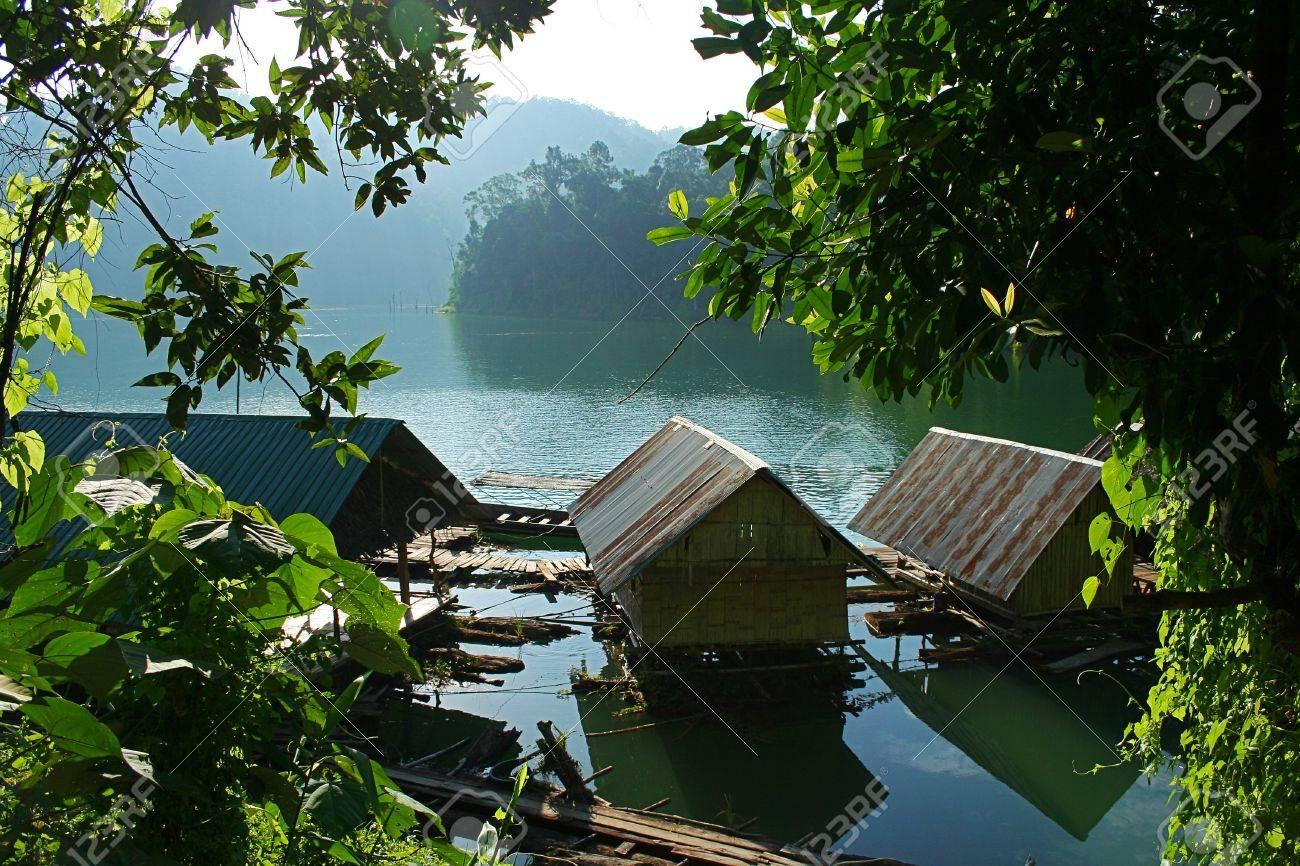Floating inside the house. Chiao Lan Dam. Surat Thani Province. - 8055681