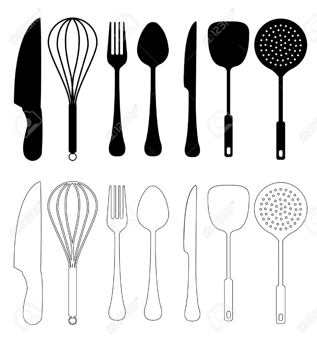 kitchen utensils silhouette vector free. Kitchen Utensils - Vector, Isolated On White, Utensil Silhouette Collection Stock Vector Free T