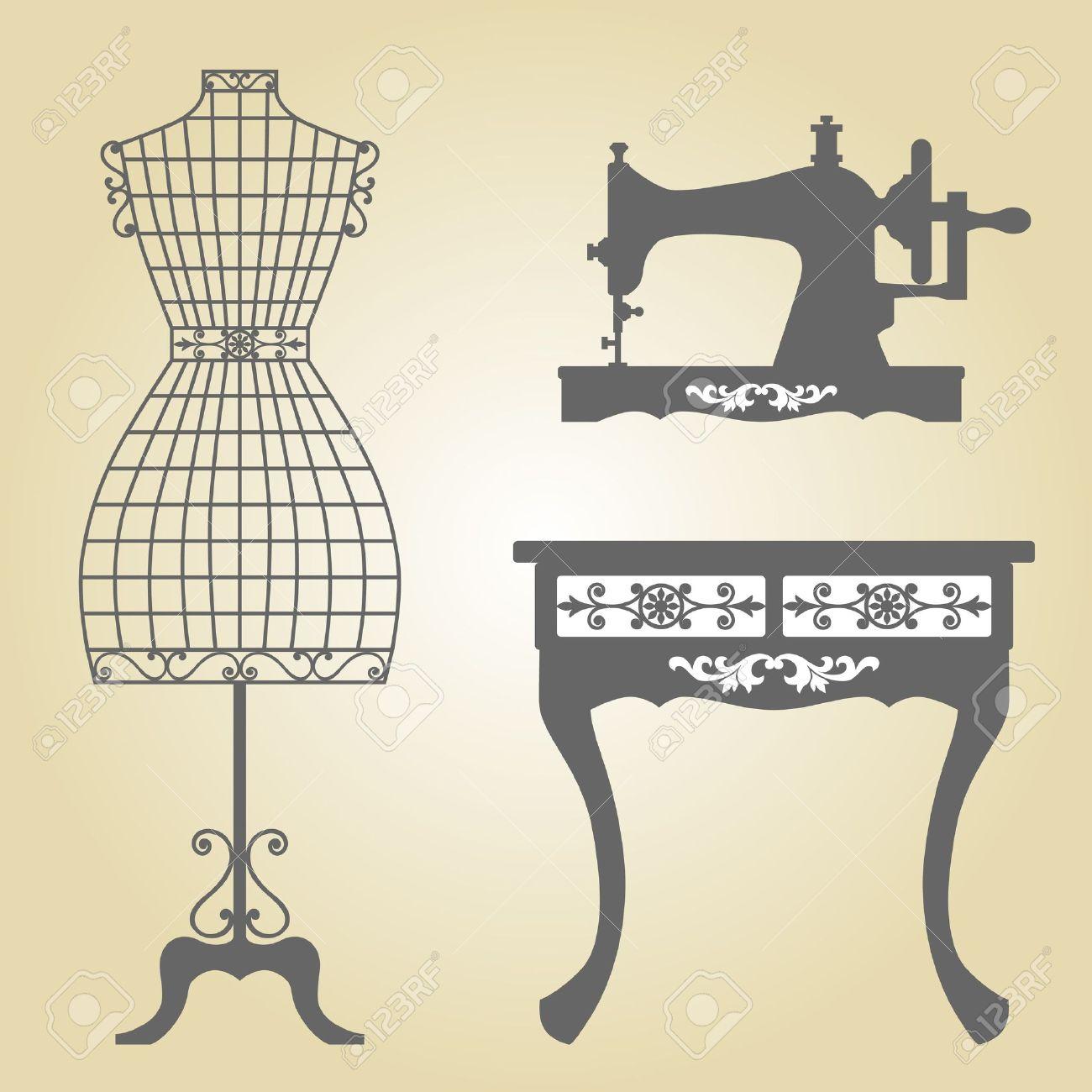 Vintage Mannequin and Sewing Machine Vintage Wooden Mannequin Vintage Wrought Iron Mannequin in Floral Frame Vintage Sewing Machine Sillhouette - 21644934