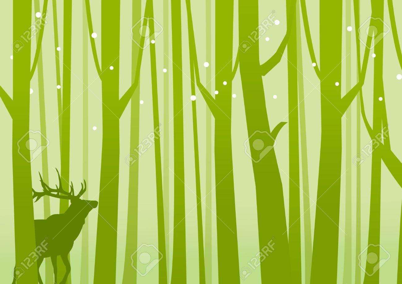 Deer in Forest Green Deer on a background of Forest Green Vector illustration - 21644940