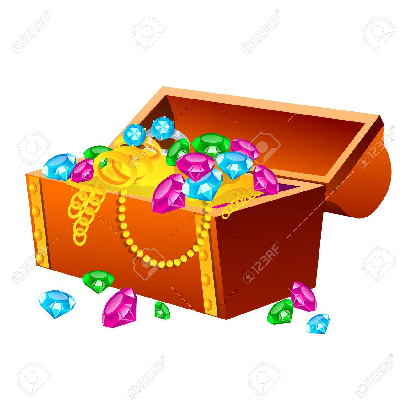 Vector illustration of treasure chest on white background Illustration of a traditional treasure chest with gold coins, jewelry and gems - 22000000