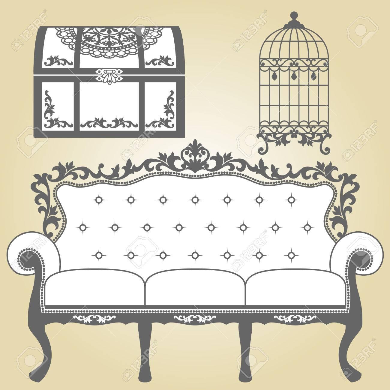 Vintage Sofa Vintage Bird Cage and Vintage Trunk Illustration sofa for vintage interior Illustration sofa for vintage interior Vintage bird cage designs in silhouette Vintage Trunk designs - 22612367
