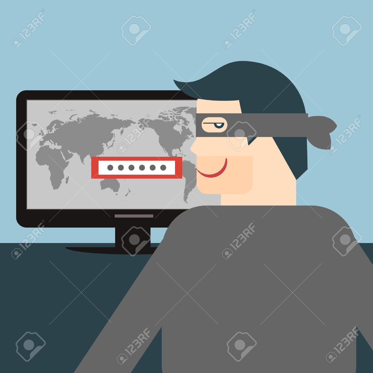illustration of a thief stealing sensitive data as passwords from a personal computer useful for anti phishing and internet viruses campaigns - 23207386