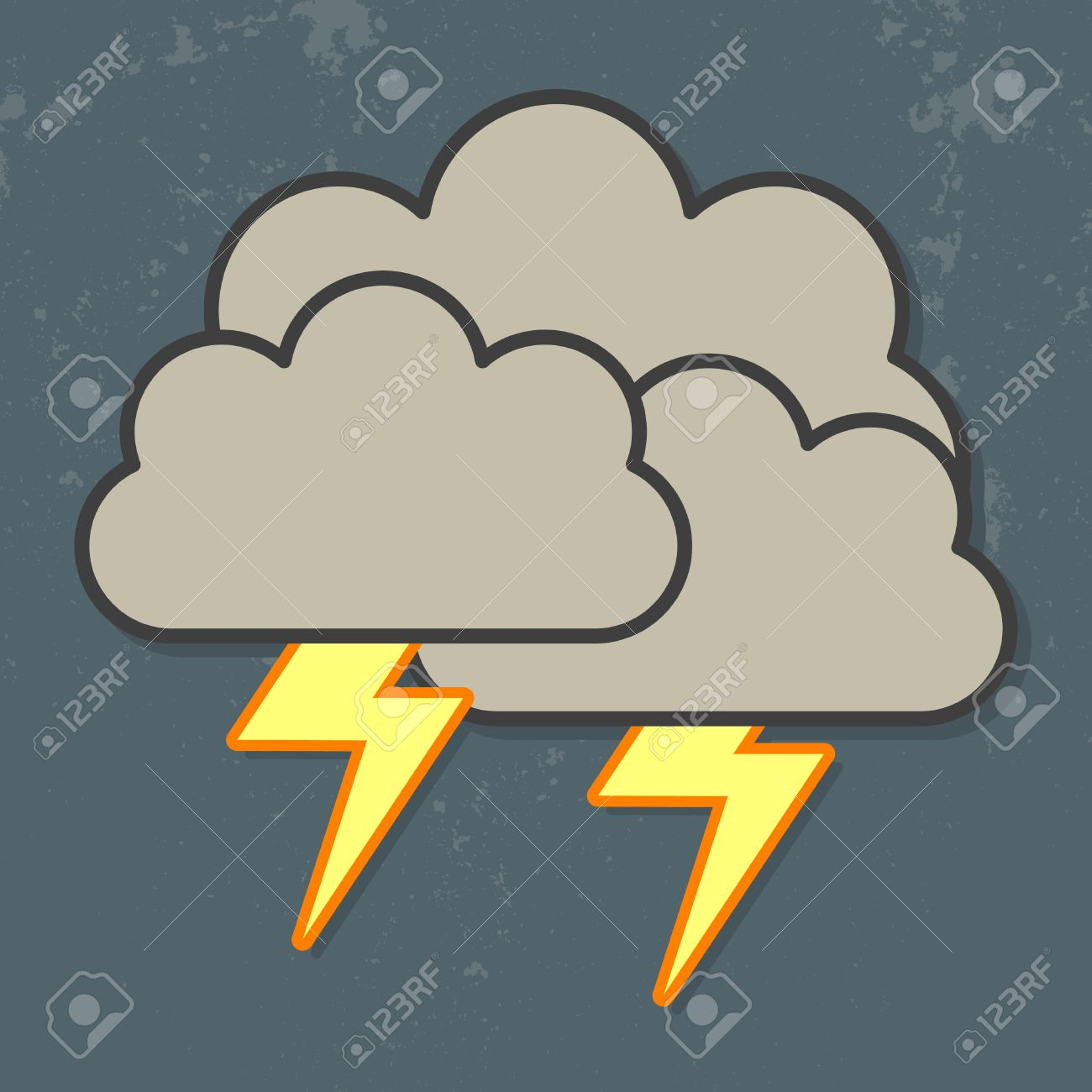 cloud with heavy fall rain and lightning in the dark sky cloud and lightning icon - 23207395
