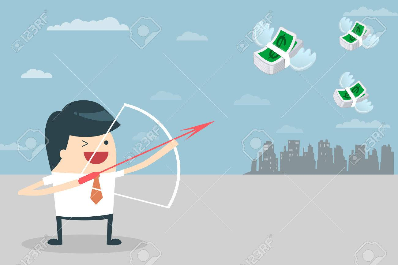 Businessman Target Vector illustration of Businessman aiming the target with his bow and arrow Business people who aim to have a bow and arrow The goal is money Businessman target with money - 24018948