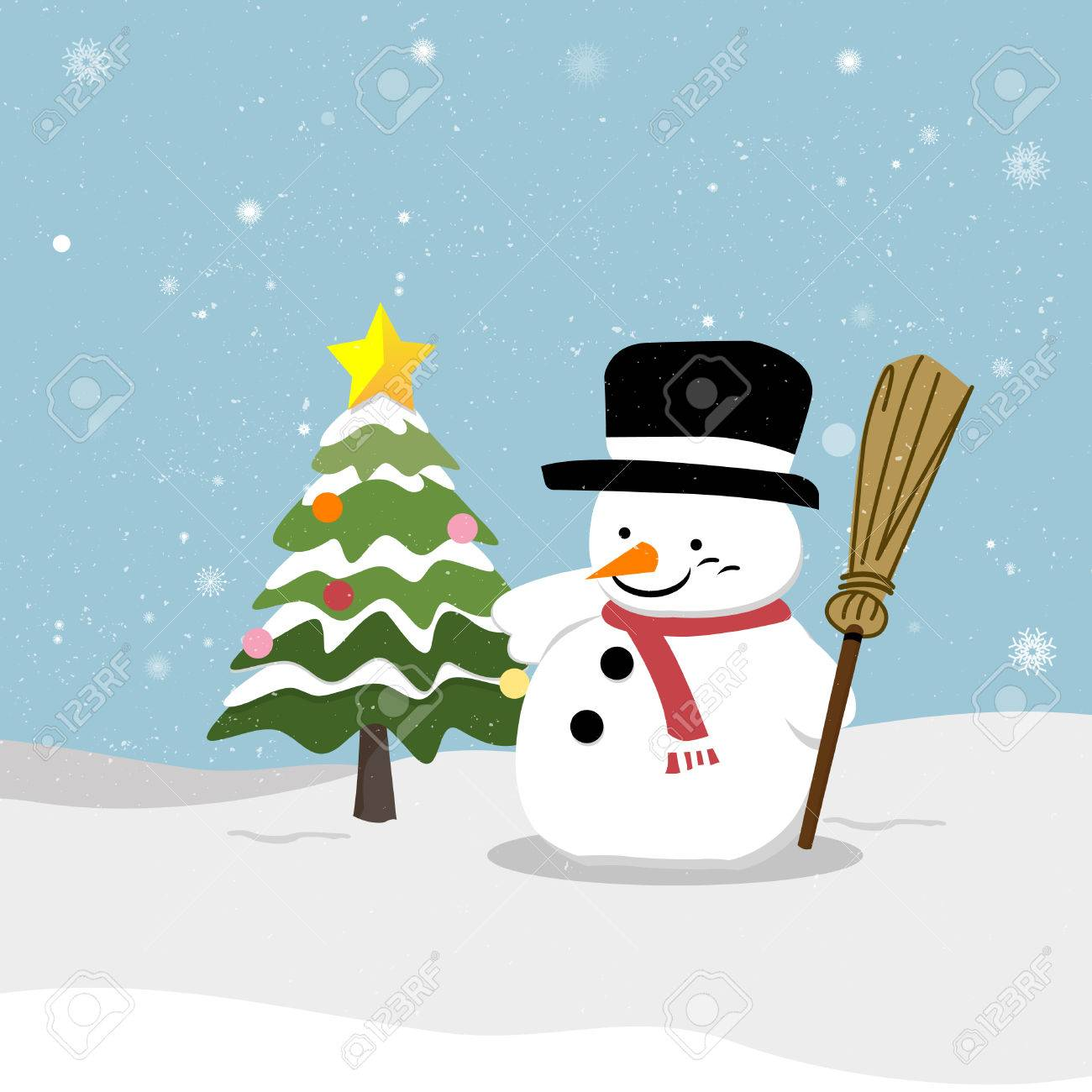 Snowman With Christmas Tree Vector Snowman Eps 10 Vector Illustration Royalty Free Cliparts Vectors And Stock Illustration Image 24024990