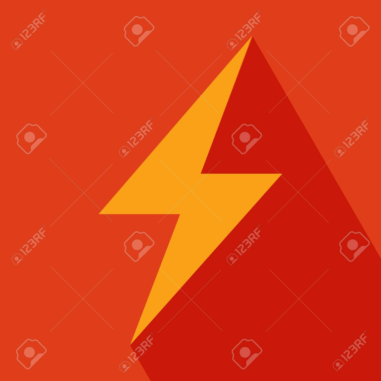 Thunder Icon Lightning single flat icon Thunder Icon vector isolated on orange background EPS 10 vector illustration for design All in a single layer Vector illustration - 28170841