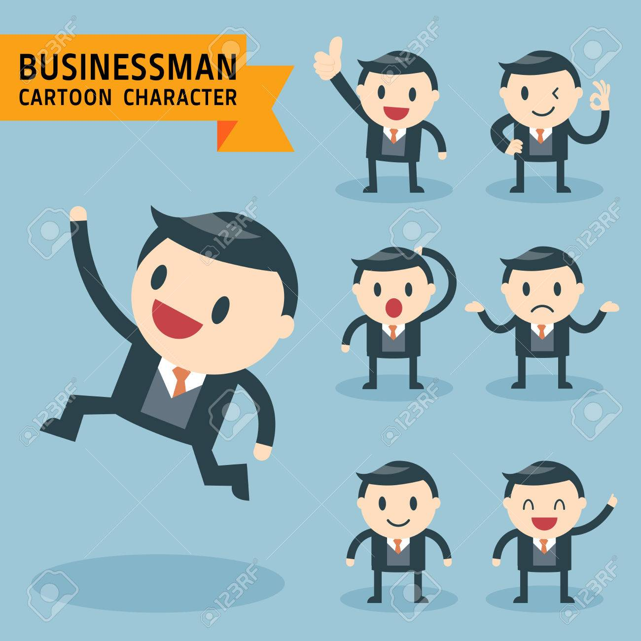 Set of businessman characters poses, expressing feeling and emotional concept, office worker - 30853108