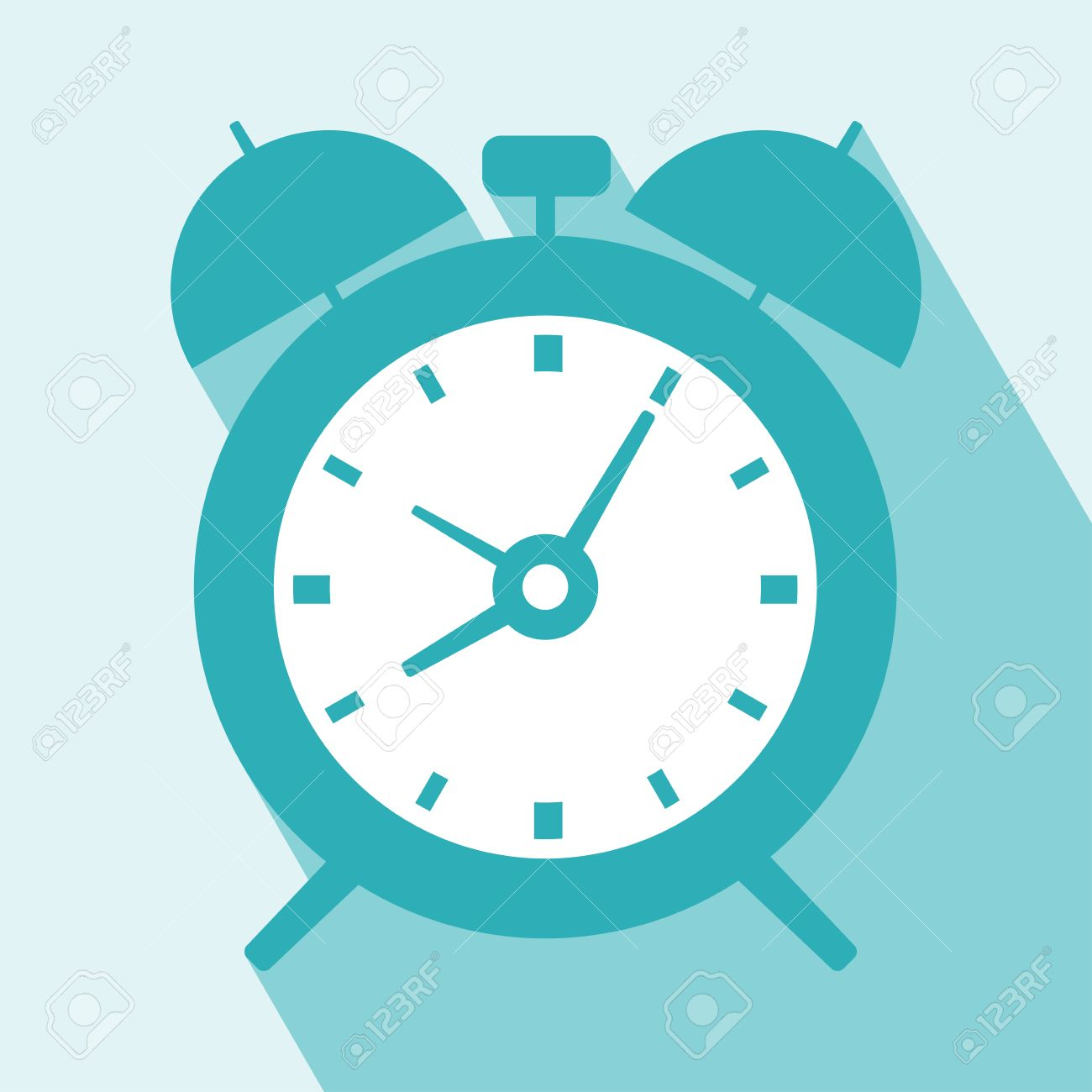 Alarm Clock Icon. Alarm Clock Icon vector isolated on light blue background. Alarm Clock Icon with Long Shadow. All in a single layer. Vector illustration. Elements for design. - 31580176