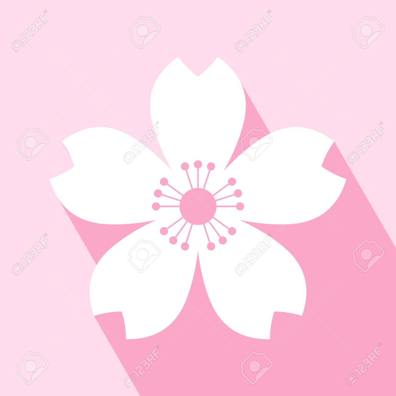 Cherry blossom icon. Sakura icon. All in a single layer. Vector illustration. Elements for design. EPS 10 vector illustration for design. Cherry blossom icon on pink background. Cherry blossom Icon Icon with Long Shadow. - 55607658