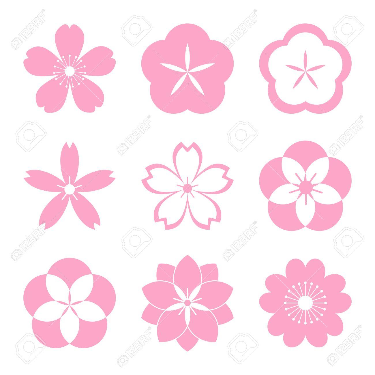 cherry blossom icon set sakura icon set all in a single layer rh 123rf com Pink Cherry Blossom Tree Cherry Blossom Clip Art Black and White