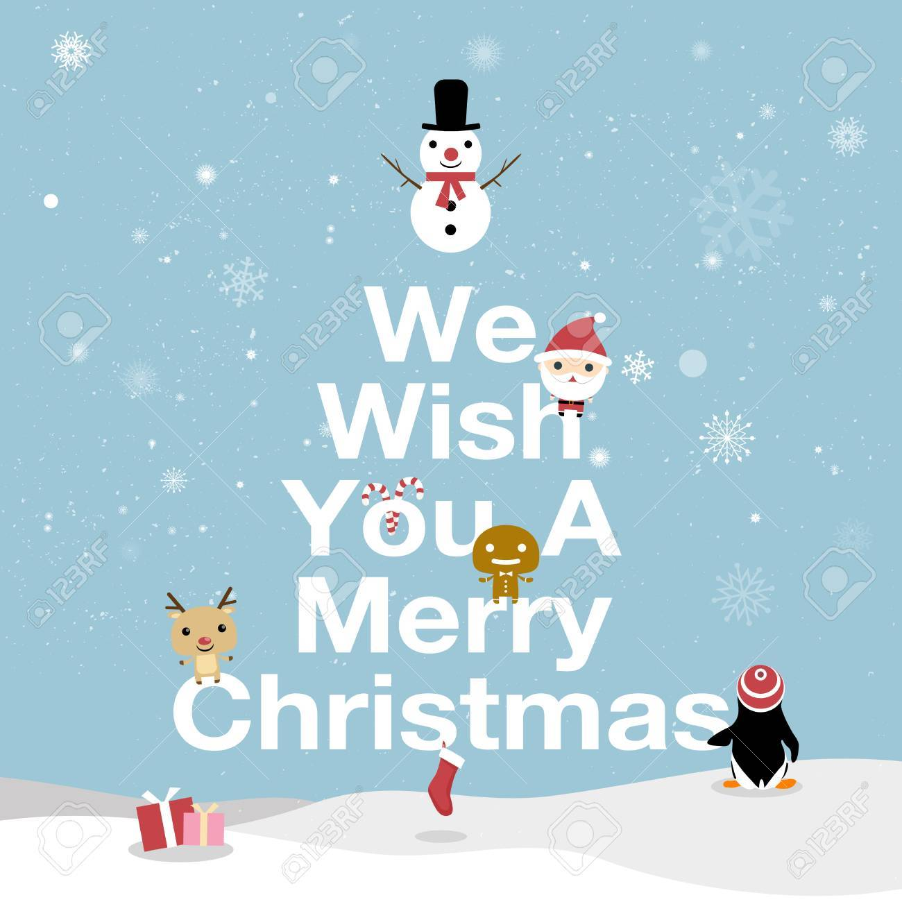 Merry Christmas Card. We Wish You A Merry Christmas Text. Bright ...
