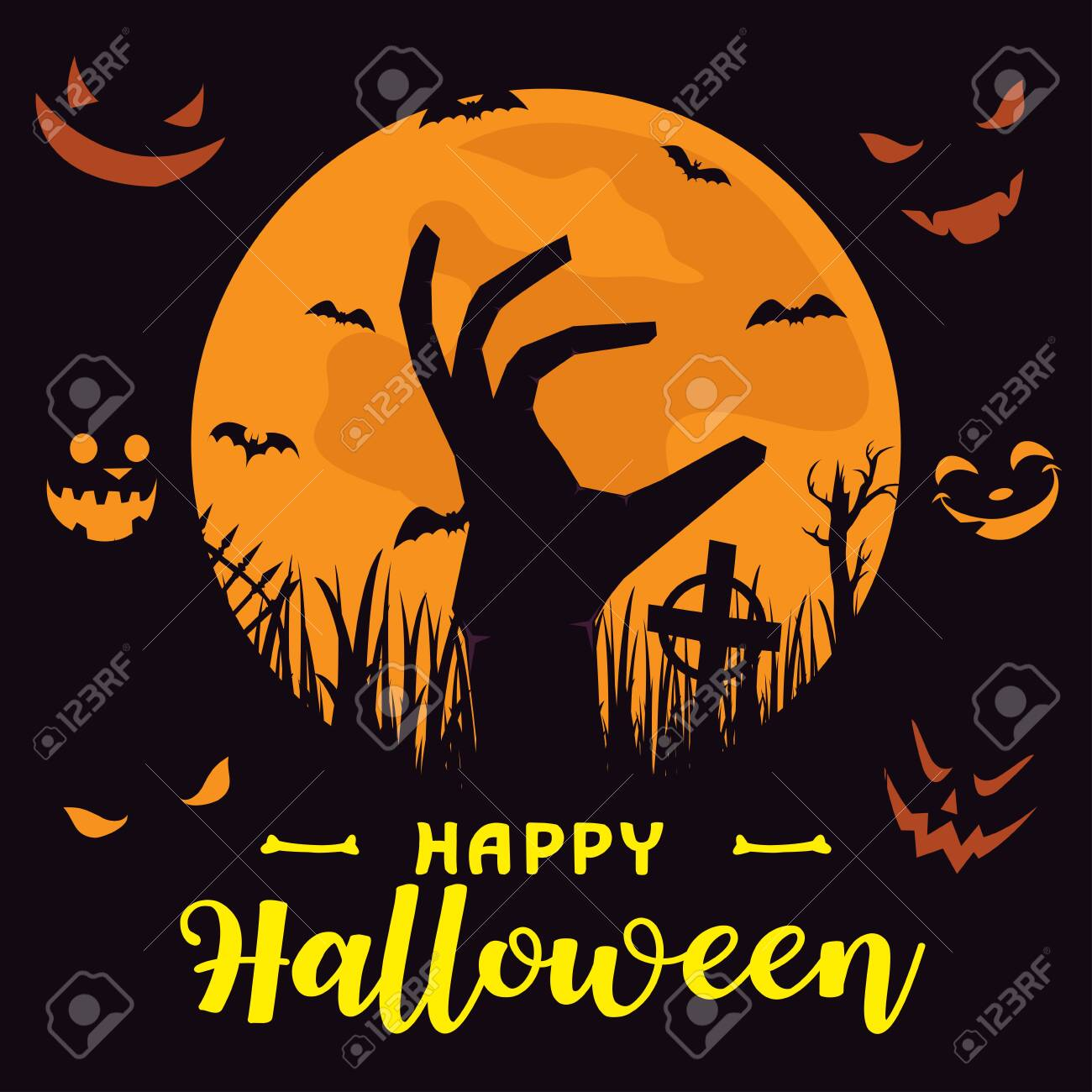 Happy Halloween Background with full moon and zombie hand. Halloween background with zombies and the moon. Happy Halloween Poster. All in a single layer. Vector illustration. - 129708522