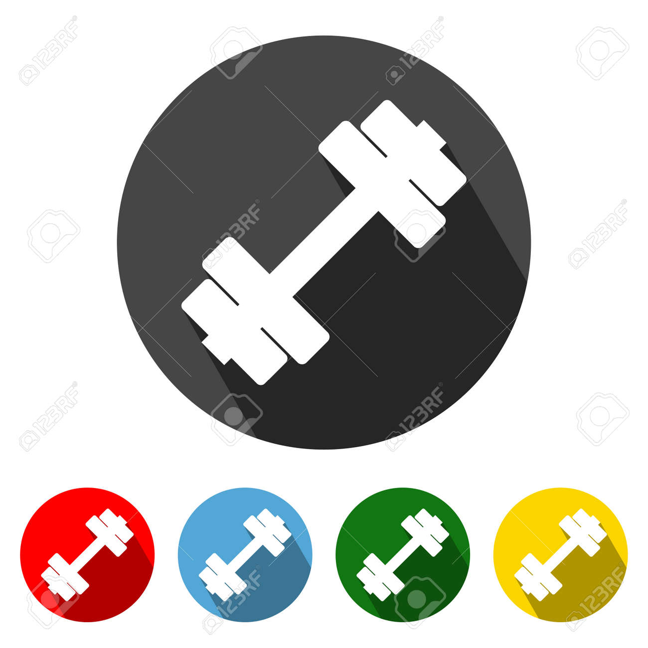 Fitness Flat Style Icon with Long Shadow. Fitness icon vector illustration design element with four color variations. Dumbbell icon with long shadow. Symbol of Gym and Fitness. All in a single layer. Elements for design. - 171946961
