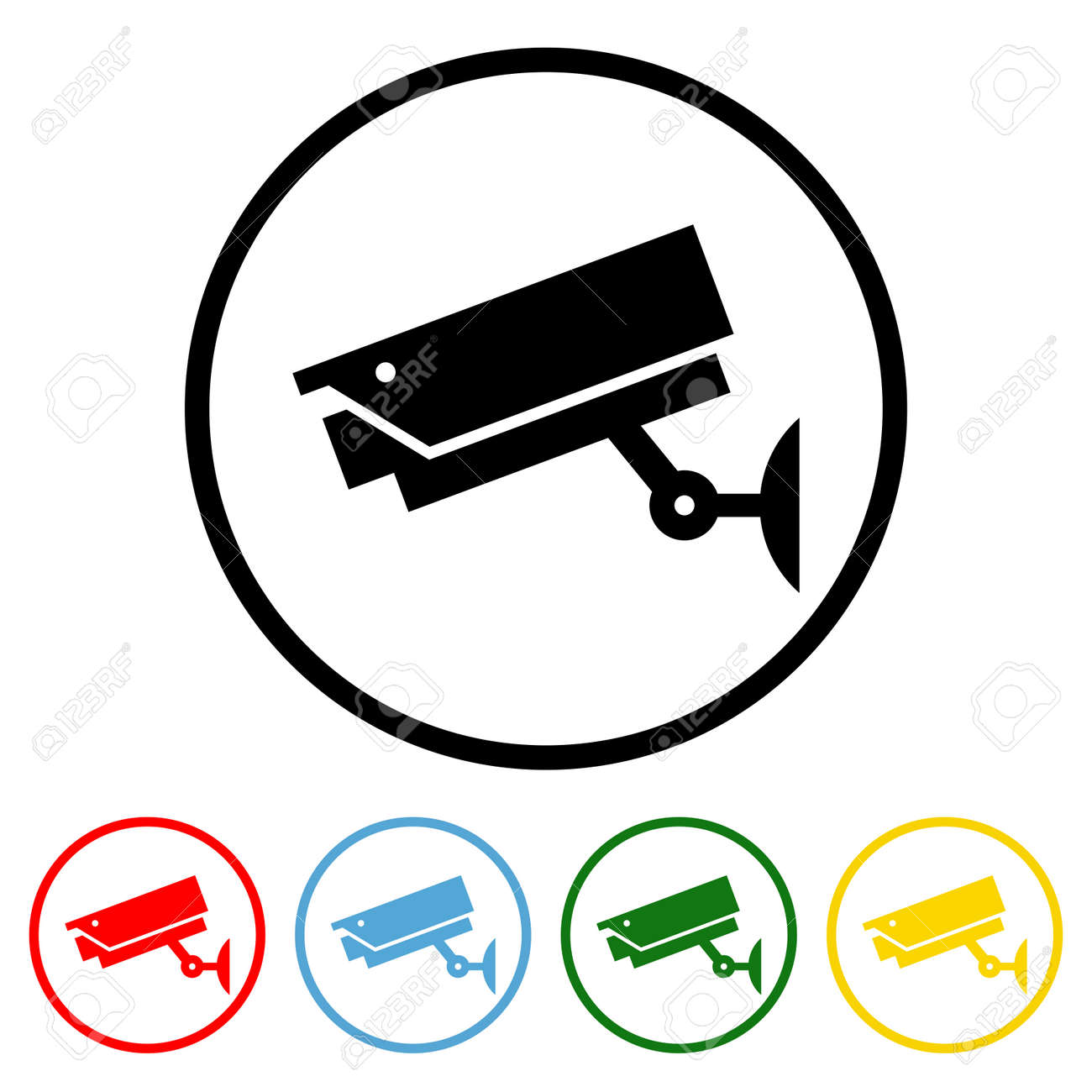 CCTV icon vector illustration design element with four color variations. Vector illustration. All in a single layer. Elements for design. - 172142975