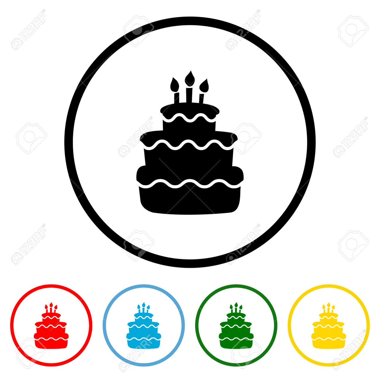Birthday Cake icon vector illustration design element with four color variations. Vector illustration. All in a single layer. Elements for design. - 172143297