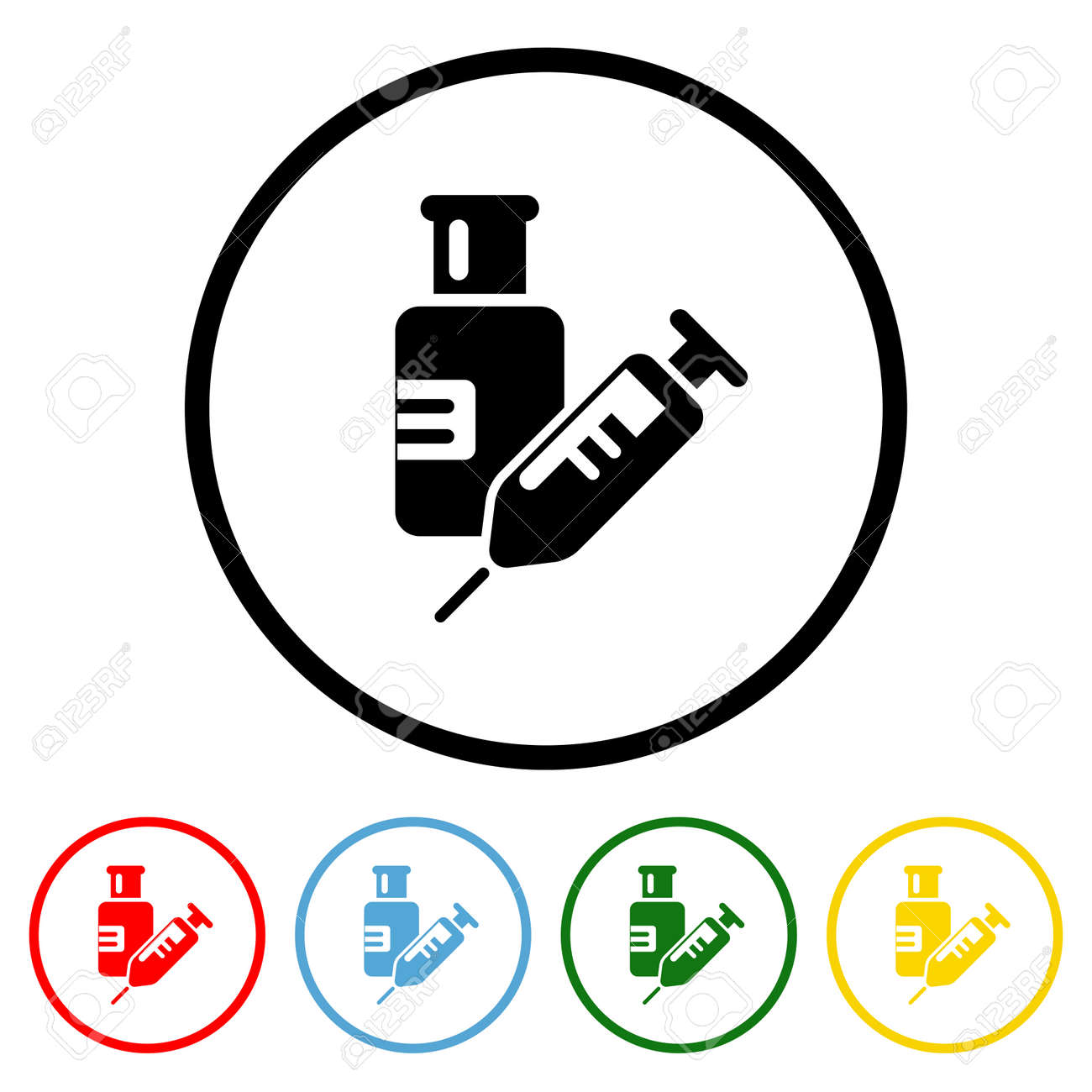 Vaccine icon vector illustration design element with four color variations. Vector illustration. All in a single layer. Elements for design. - 172142927