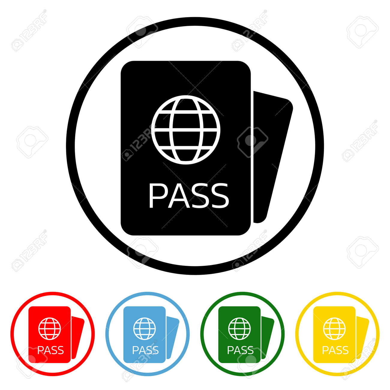 Passport icon vector illustration design element with four color variations. Vector illustration. All in a single layer. Elements for design. Passport Icon flat design. - 172204464