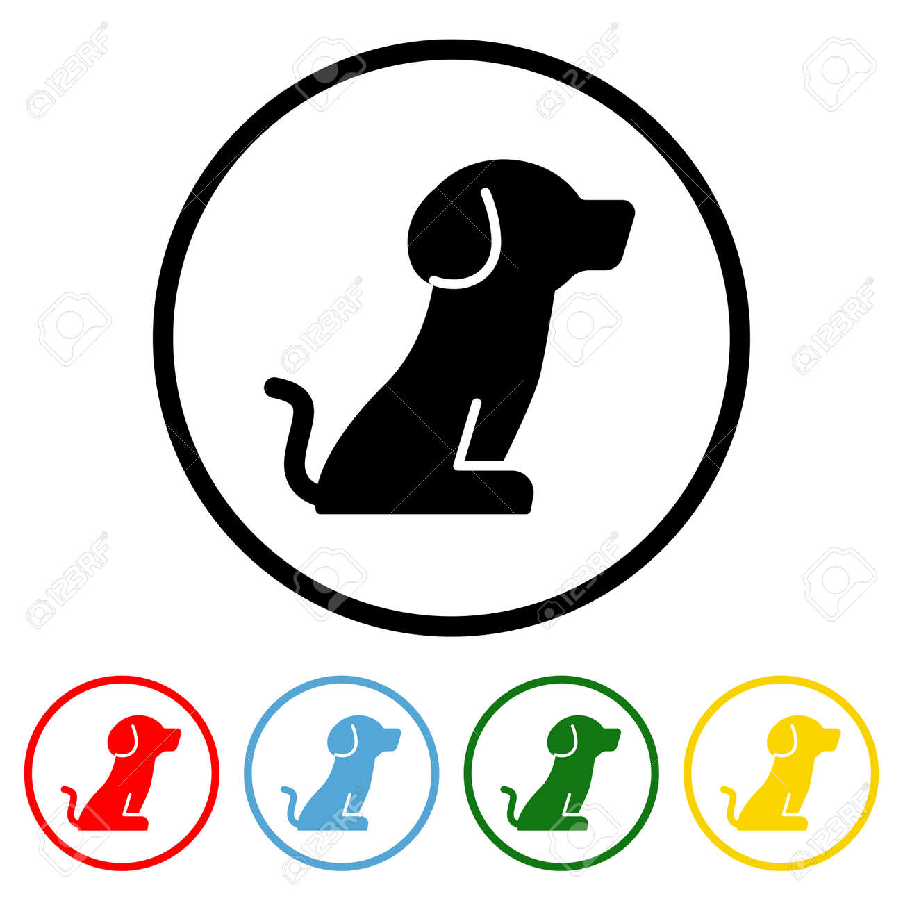 Dog icon vector illustration design element with four color variations. Vector illustration. All in a single layer. Elements for design. Dog Icon flat design. - 172254322