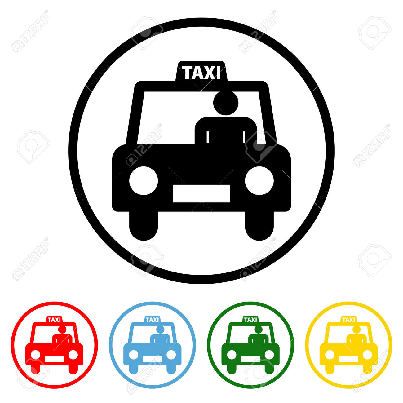 Taxi icon vector illustration design element with four color variations. Vector illustration. All in a single layer. Elements for design. Taxi Icon flat design. - 172254389