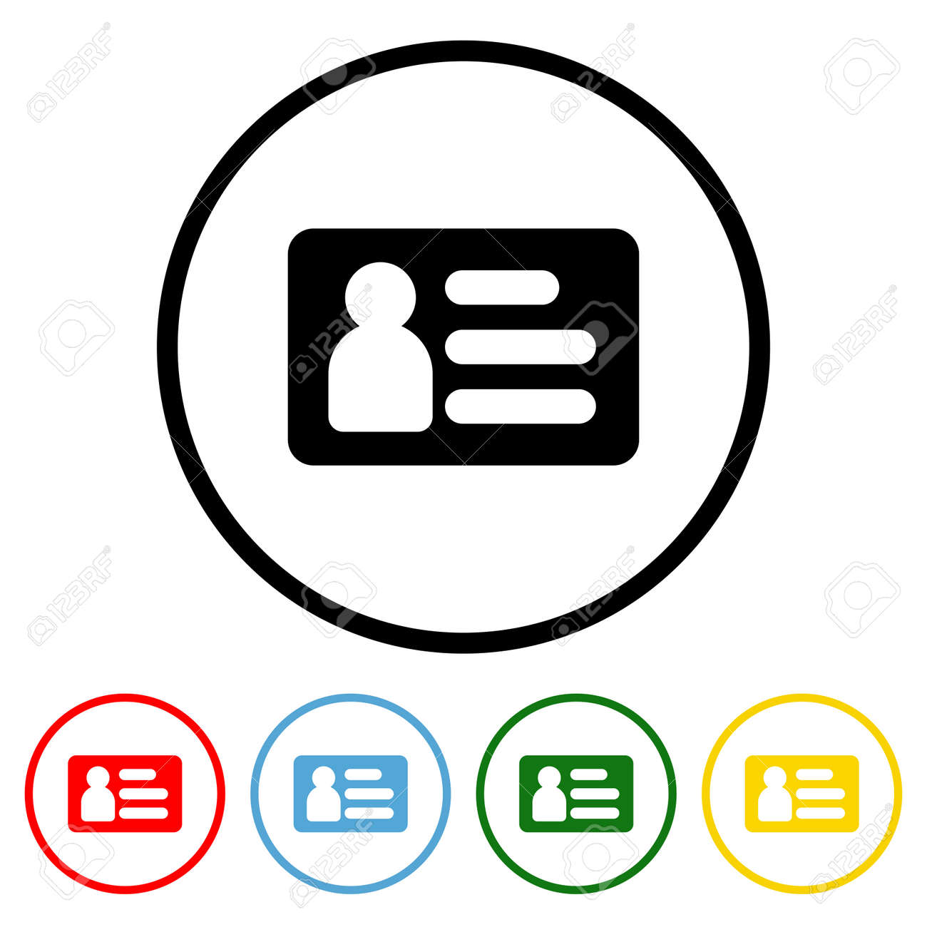ID Card icon vector illustration design element with four color variations. Vector illustration. All in a single layer. Elements for design. ID Card Icon flat design. - 172254551
