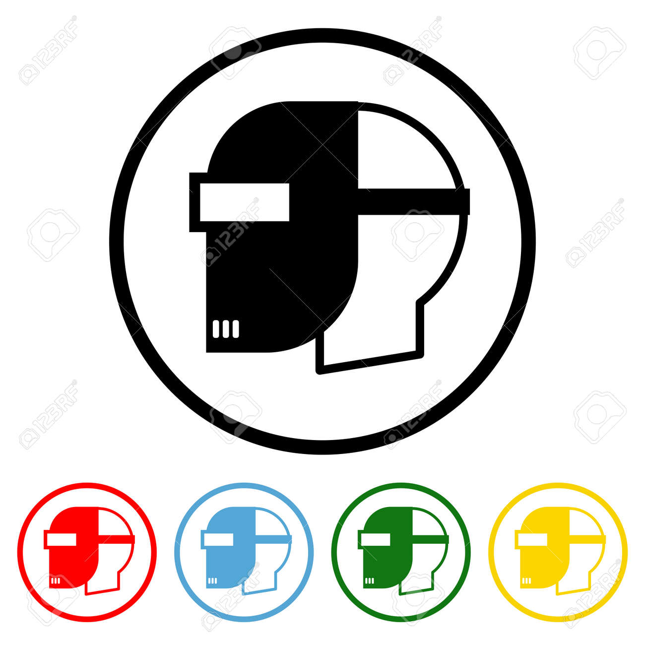 Safety Helmet icon vector illustration design element with four color variations. Vector illustration. All in a single layer. Elements for design. Welding Mask Icon flat design. - 172313406