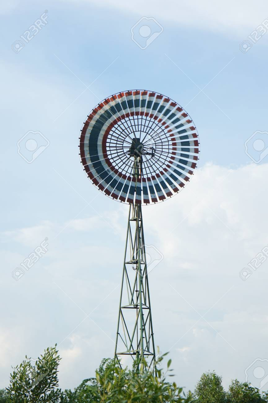 Old wind turbine with beautiful blue sky background Stock Photo - 15587119