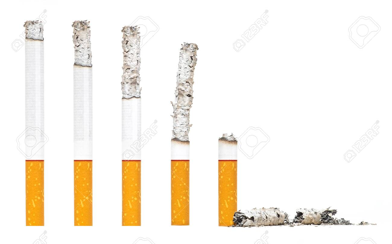 Burned Almost Cigarettes Step on iSolated White Background. - 127583137