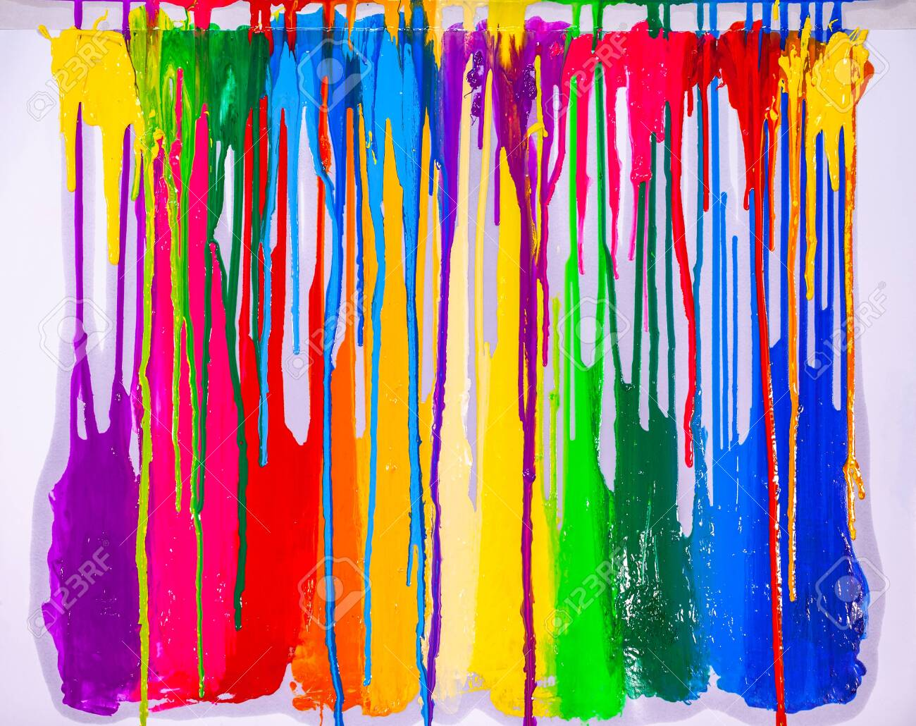 colorful of screen printing ink are dripping on white background - 149909859