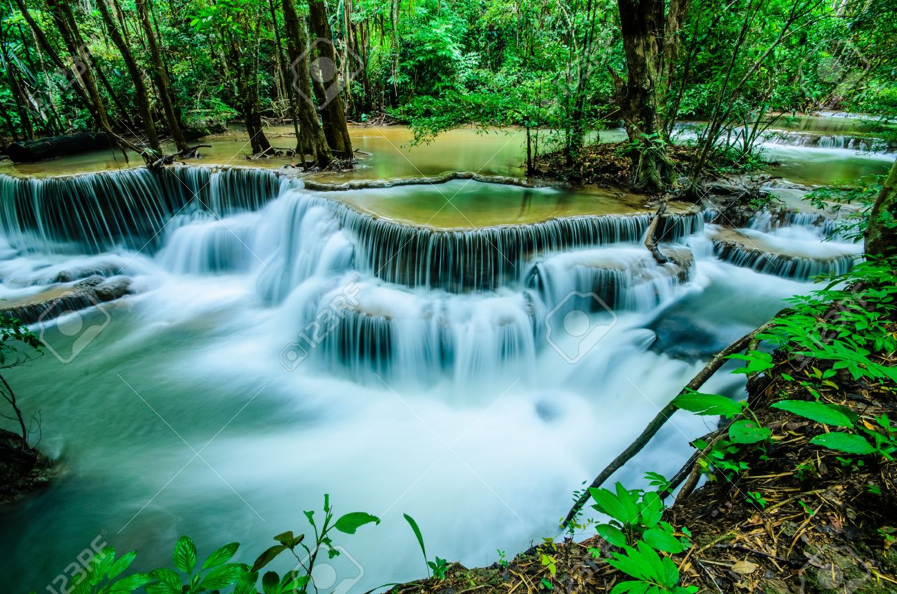 Huay Mae Khamin, Paradise Waterfall located in deep forest of Thailand  Huay Mae Khamin - Waterfall is so beautiful of waterfall in Thailand, Huay Mae Khamin National Park, Kanchanaburi, Thailand Stock Photo - 21583102