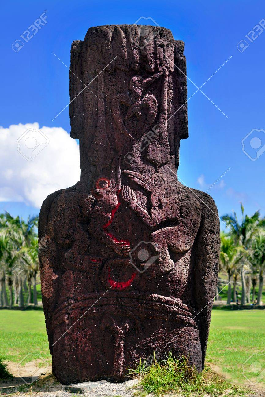 Bird carvings on standing moai in easter island stock photo picture