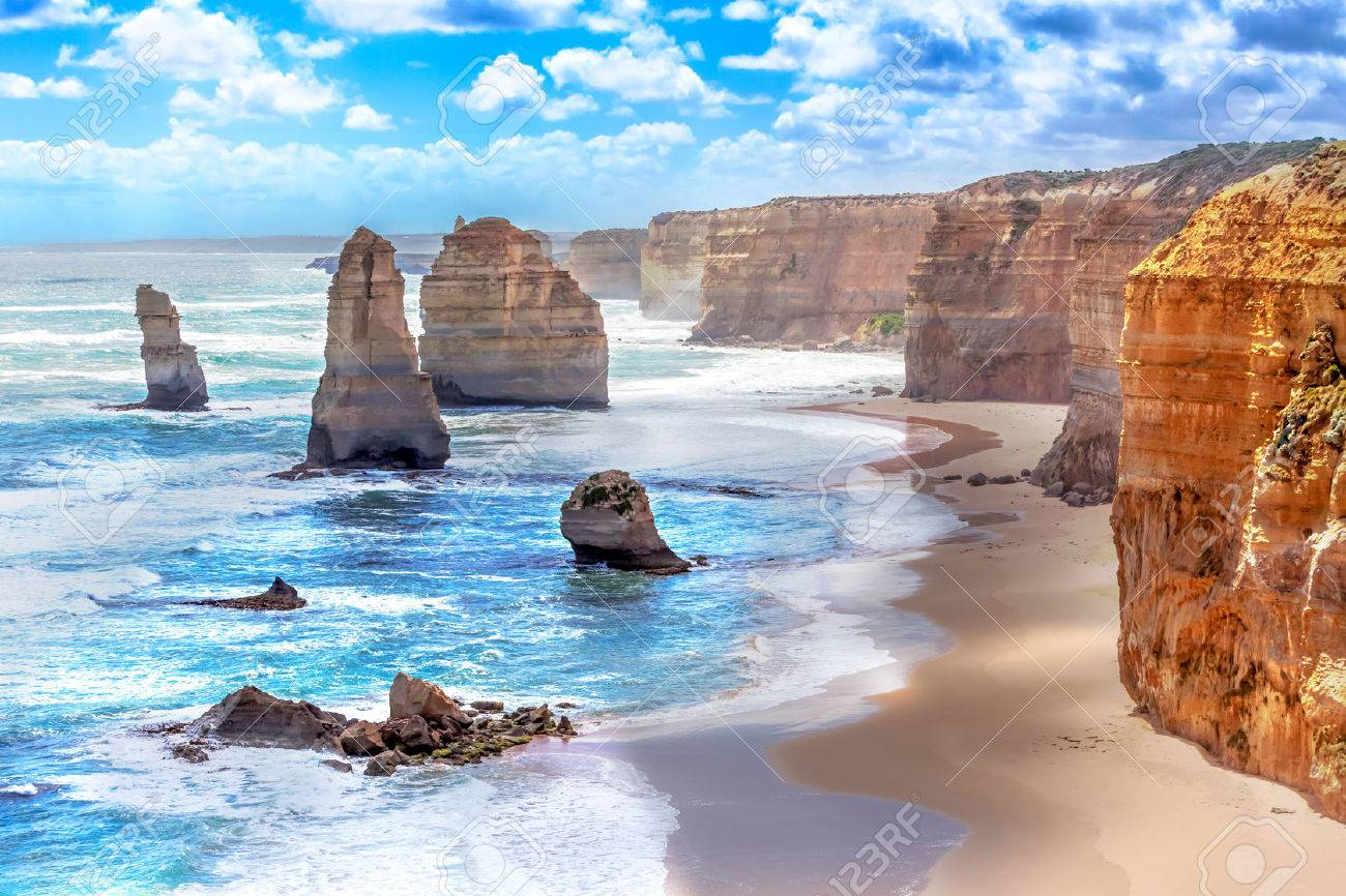 Twelve Apostles and orange cliffs along the Great Ocean Road in Australia - 34315459