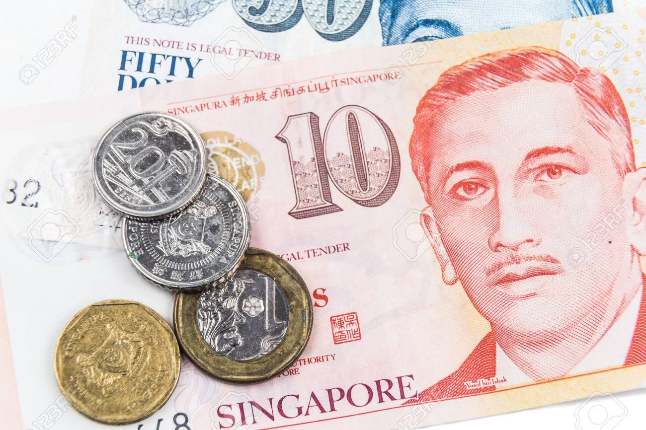 Close Up Auf Singapur Dollar Banknoten Und Münzen Lizenzfreie Fotos