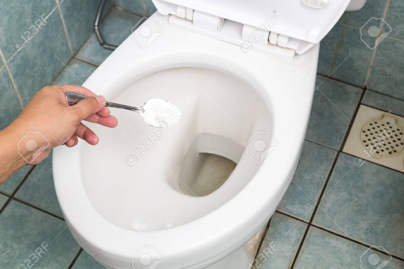 Baking Soda Used To Clean And Disinfect Bathroom And Toilet Bowl Stock  Photo   44327049
