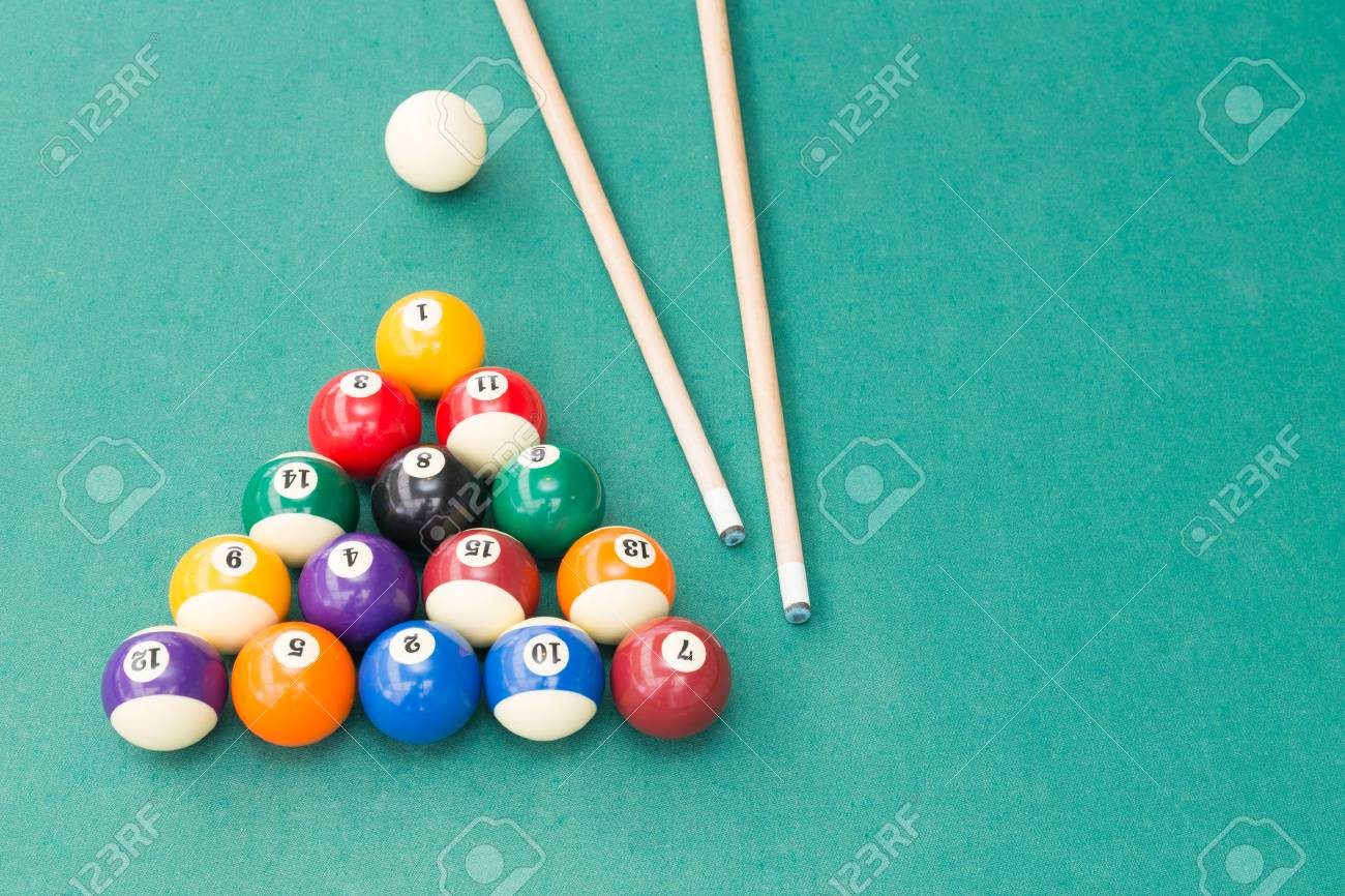 Snooker Billards Pool Balls In Triangle And Cue Stick On Green Table Stock  Photo   72828110