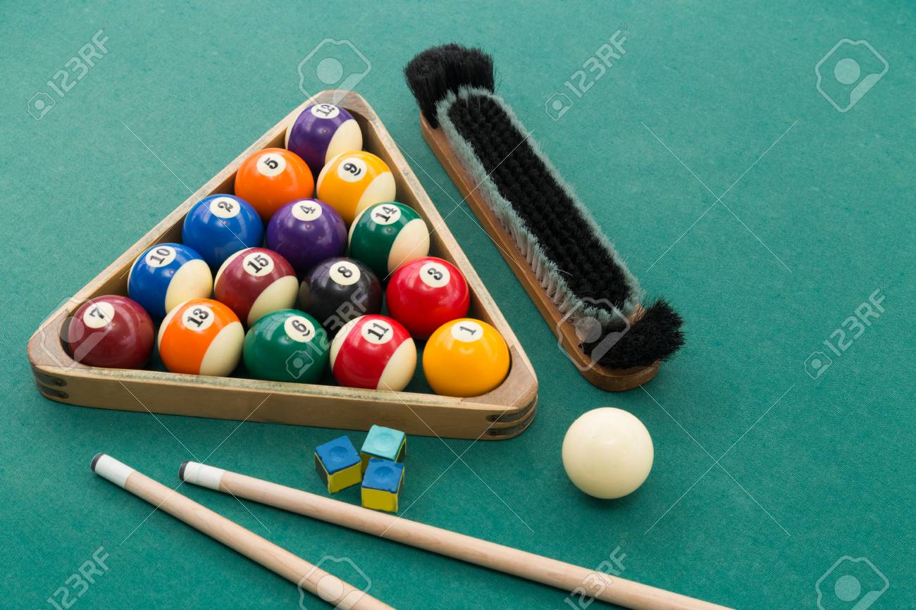 Snooker Billards Pool Balls In Triangle, Chalk, Cue, Extender Stick And  Brush On