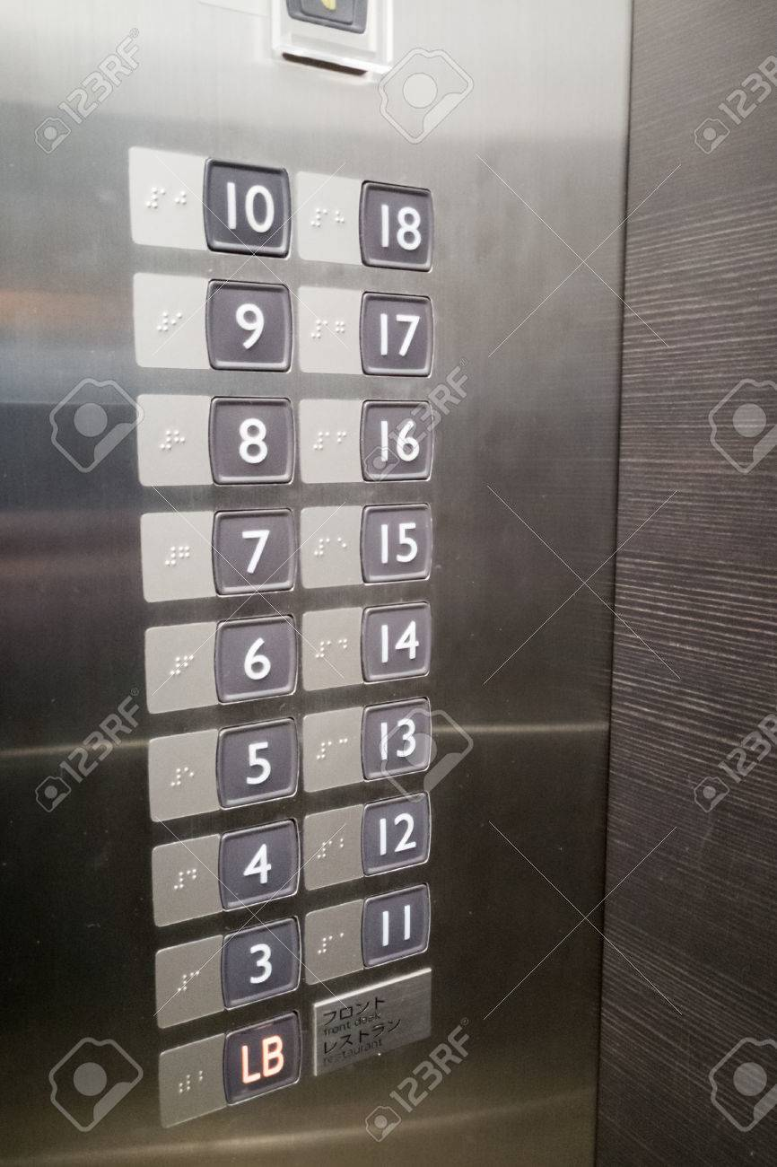 braille on elevator panel for the blind or users with vision stock