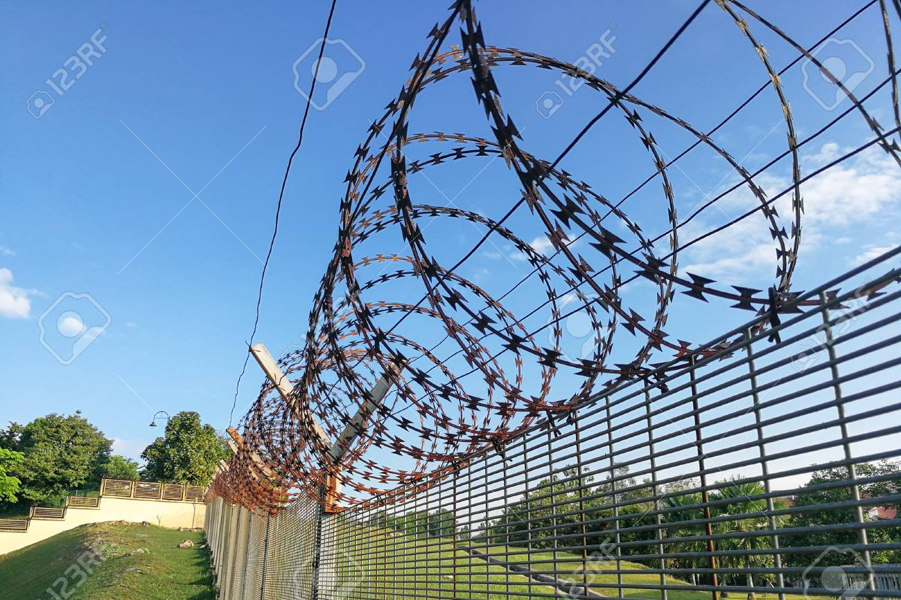 Sharp Barbed Wire On Security Fence Protecti Secure Private Space ...