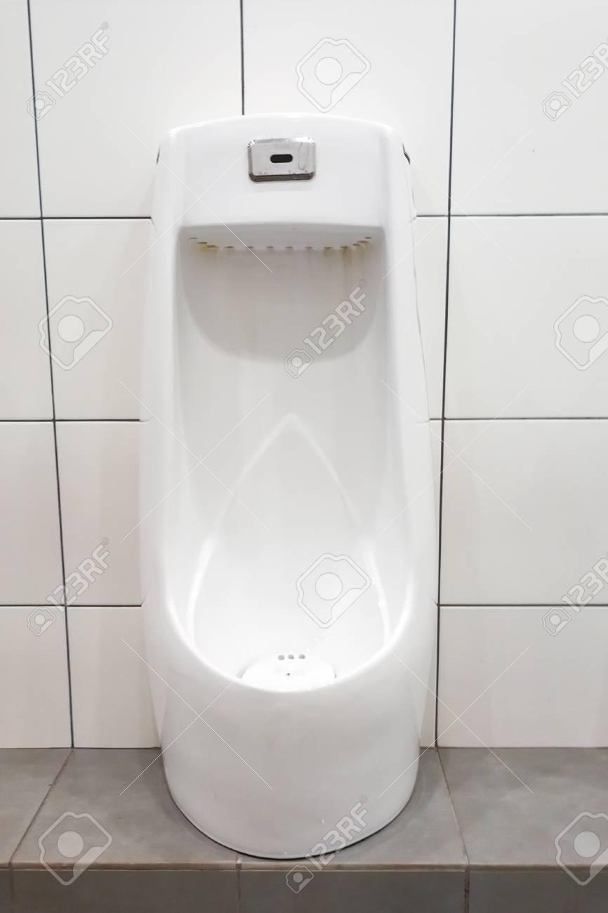 Modern Clean Hygienic Men Urinal In Public Washroom Toilet Stock ...