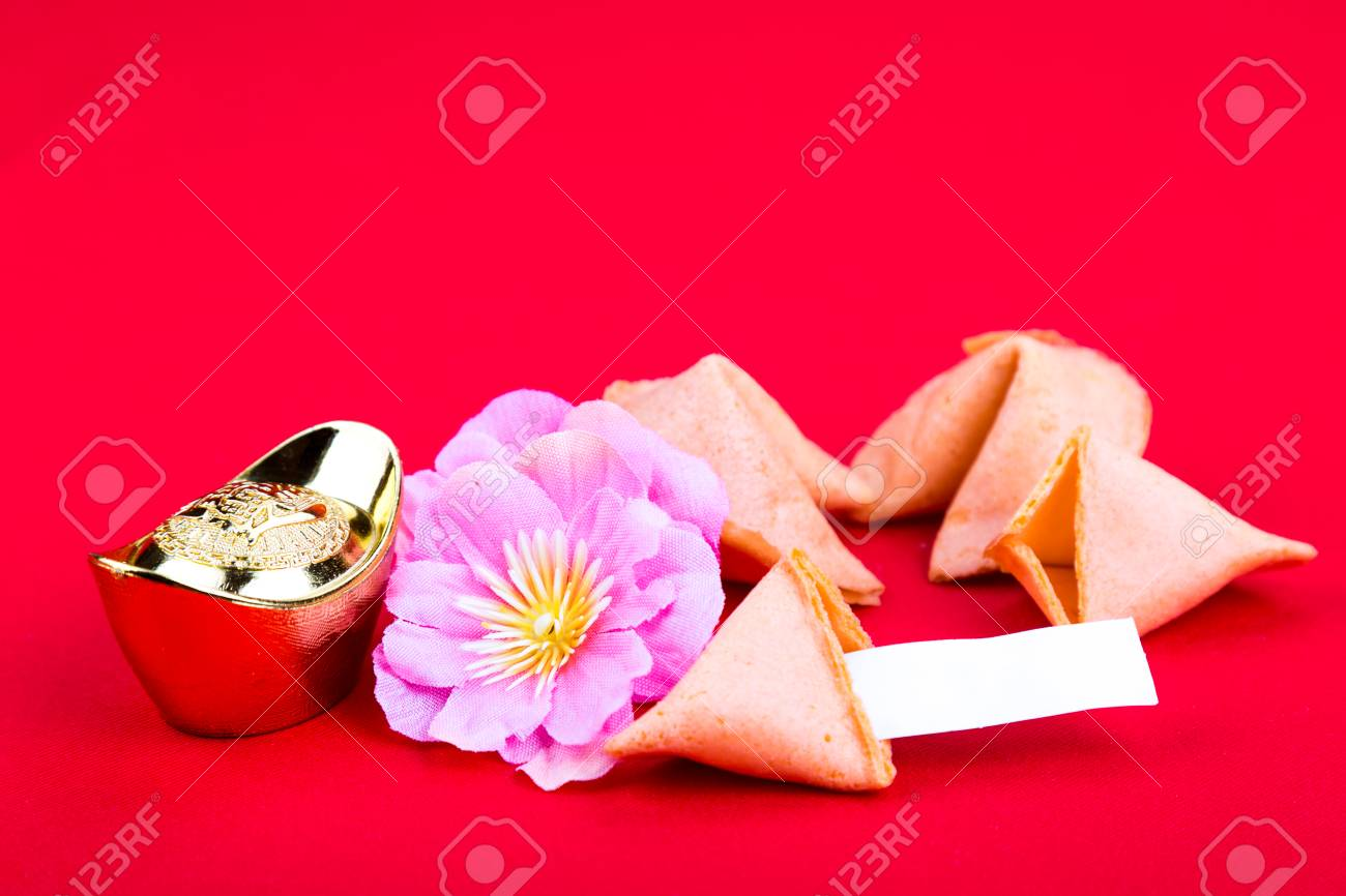 Chinese Fortune Cookies With Decorative Gold Nuggets, Plum Blossom ...