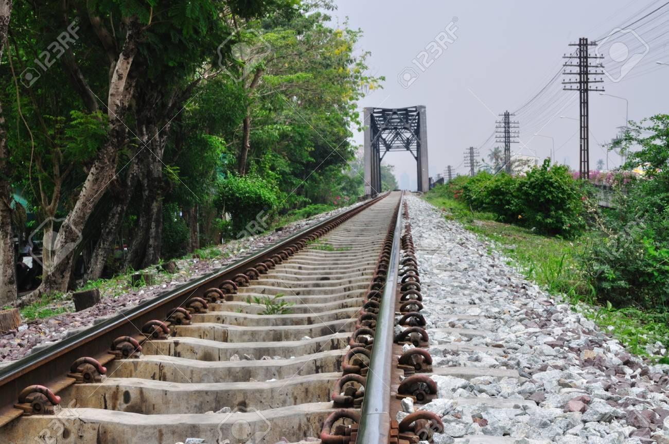 Railway bridge at Bangkoknoi, Talingchan, Thailand.  It is near Talingchan floating market. Stock Photo - 9560701