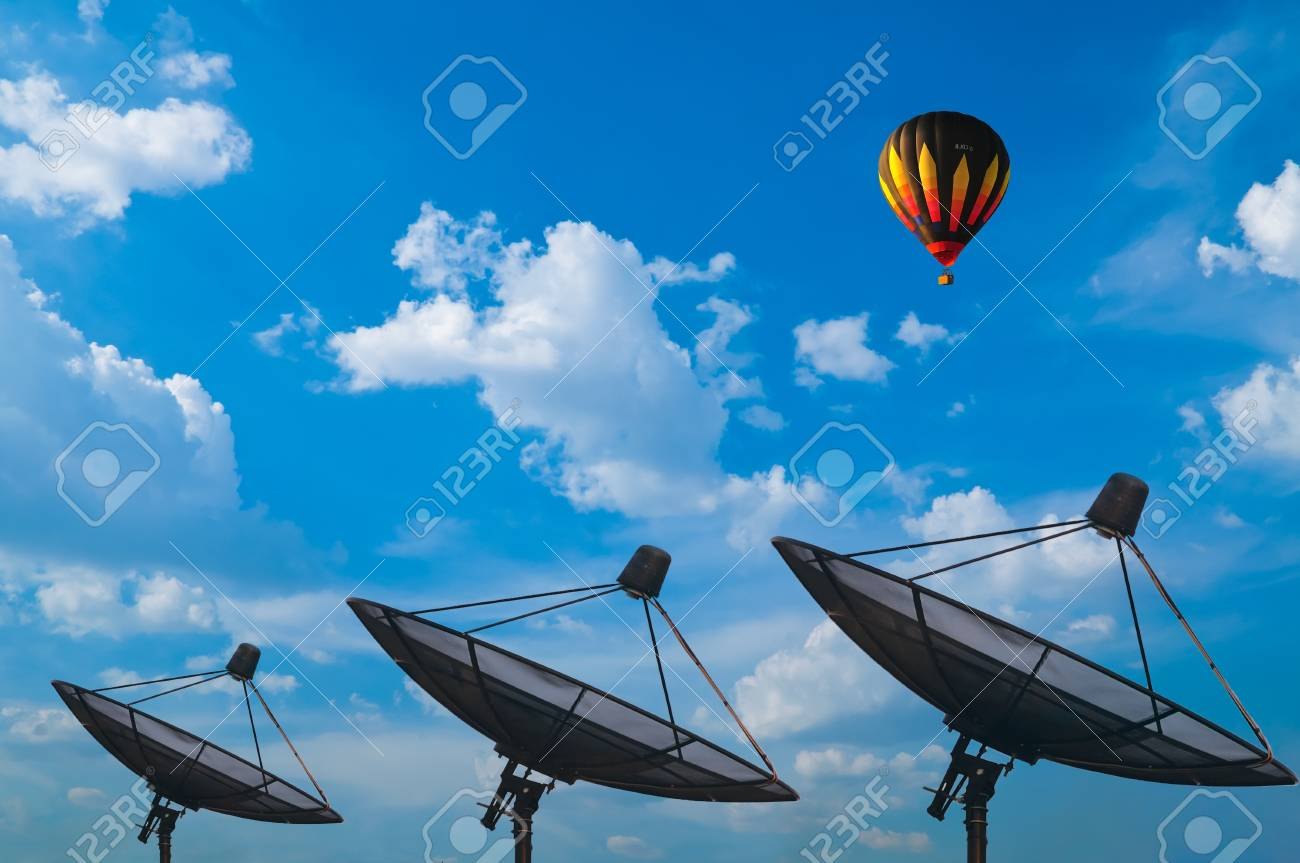 Hot air balloon with blue sky and satellite Stock Photo - 9703944