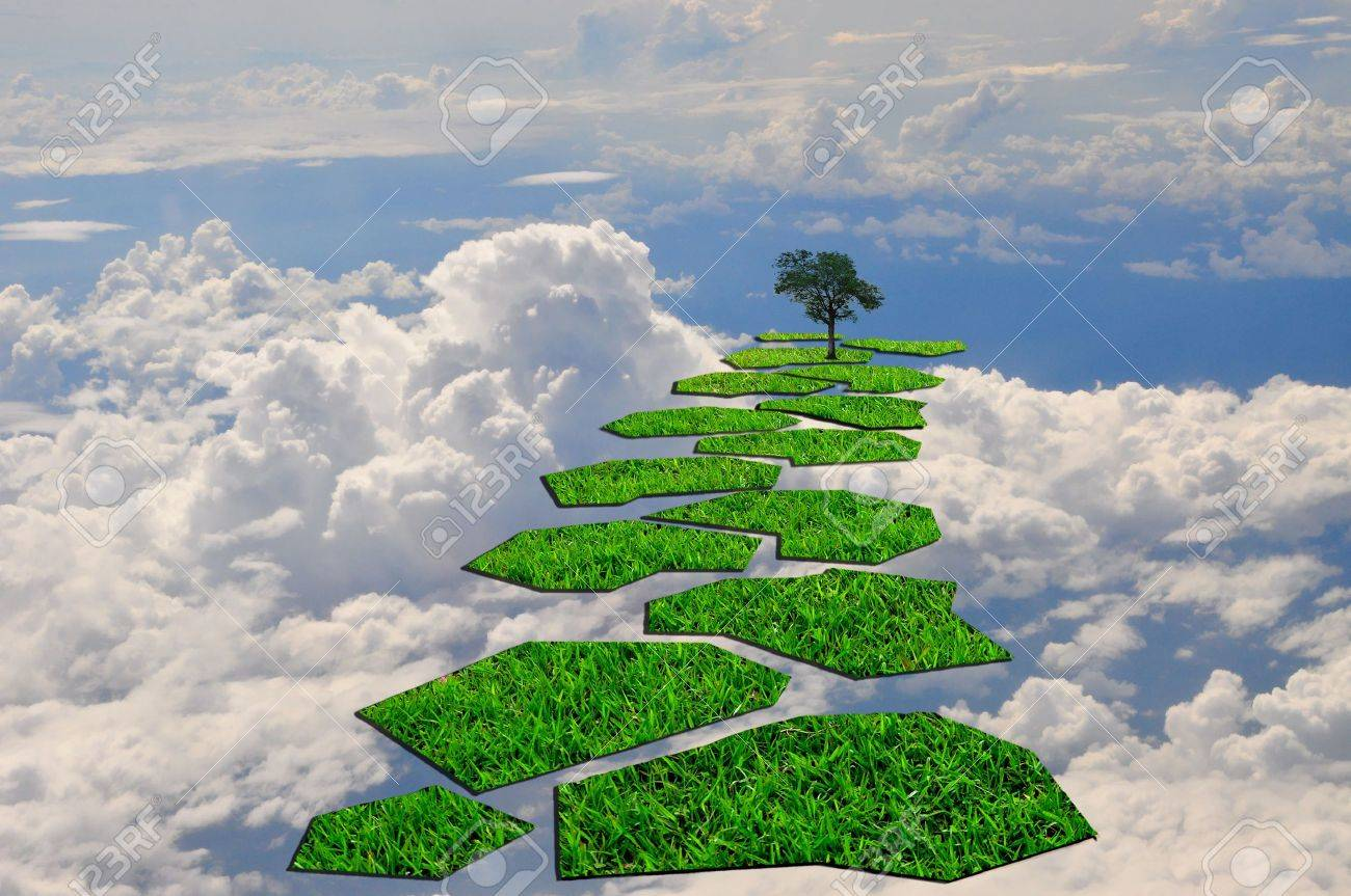 Stairway or step to the lonely tree in the blue sky Stock Photo - 10673520
