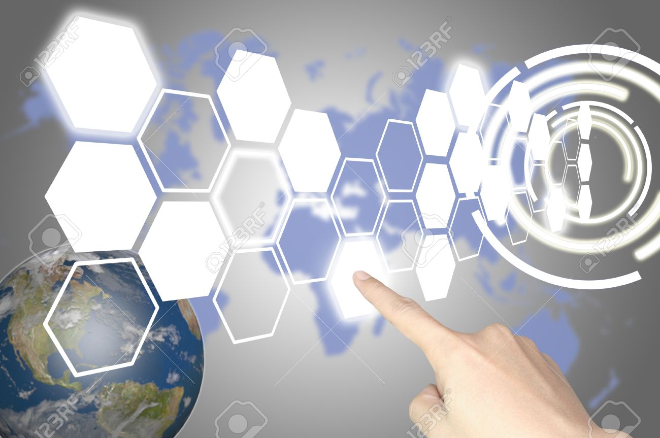 Hand of business man press hexagon button on world map or tablet pc touch screen Stock Photo - 11183976