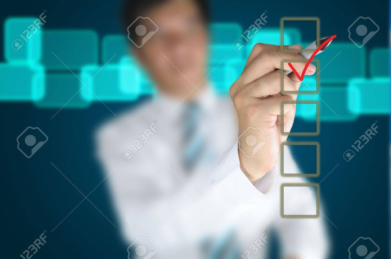 Hand of business man write a choice Stock Photo - 11183876