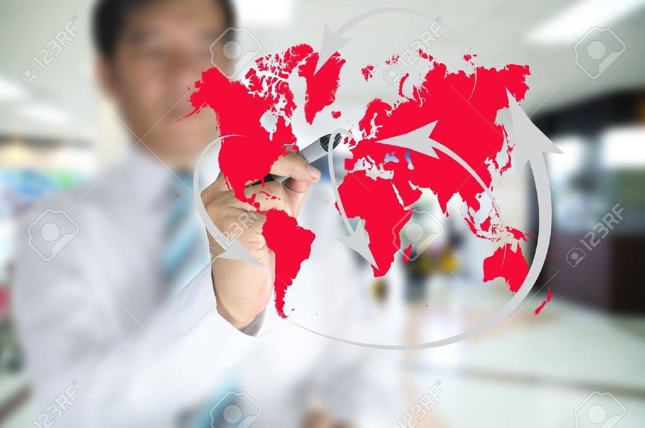 Business man write global network or globalization concept on touch screen Stock Photo - 11409907