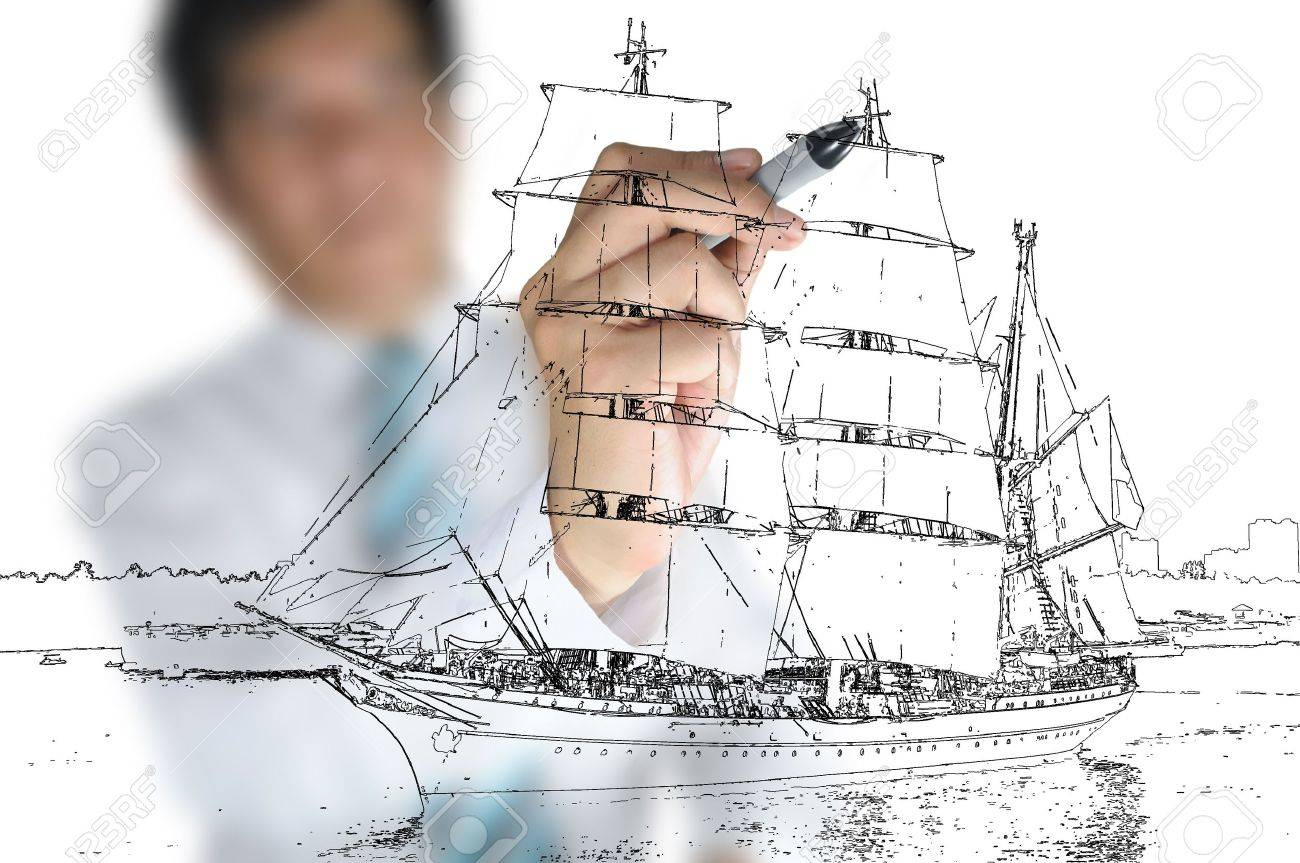 hand of business man draw sailing ship stock photo picture and