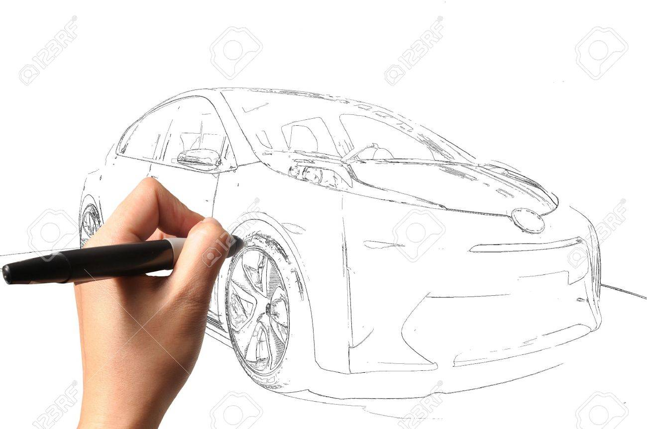 Male Hand Drawing Car Stock Photo, Picture And Royalty Free Image ...
